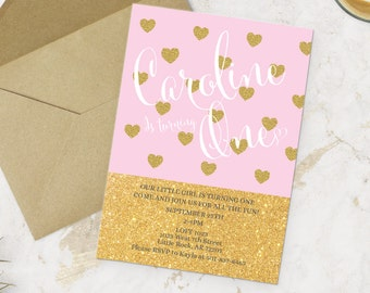 Printable Birthday Gold Pink Heart Invitation - Girl Party Invite -  Do it yourself Customizable Printable Invitation