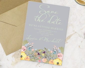 Printable wedding floral Save the Date Card - Watercolor Floral Save the date Card - Customizable invitations - DIY Wedding Invitation Set