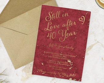 Printable 40th anniversary Invitation - Red Gold Party Invite -  Do it yourself Customizable Printable Invitation