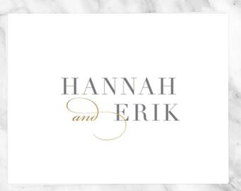 Gold Wedding Monogram - Pre made Wedding Monogram Design - Customizable invitations - DIY Wedding Invitation Set