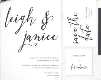 Clean White Wedding Invitation Suite - Printable and Customizable Wedding Invites - DIY Wedding Invitation Set