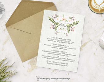 White and Pink Floral Watercolour Printable Menu Card - Floral Watercolour Menu Card - Customizable invitations - DIY Wedding Invitation Set