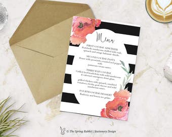 Printable Menu Card - Black & white stripe with florals Menu Card - Customizable invitations - DIY Wedding Invitation Set