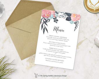 Pink and Blue Floral Watercolour Printable Menu Card - Floral Menu Card - Customizable invitations - DIY Wedding Invitation Set