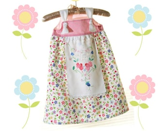 Boutique Girls Apron Knot Dress, Tea Party Dress, Prairie Girl Dress, Birthday or Spring, sizes 3mos-10T