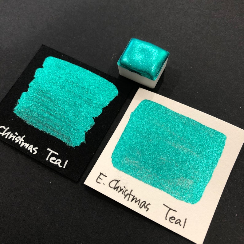 Teal in Early Christmas Trio Chrome watercolor paint half pan image 0