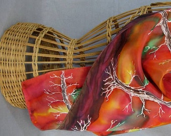 "Silk Scarf ""Sunset Panorama"", Hand Painted Silk Scarf, Orange and Yellow Scarf"