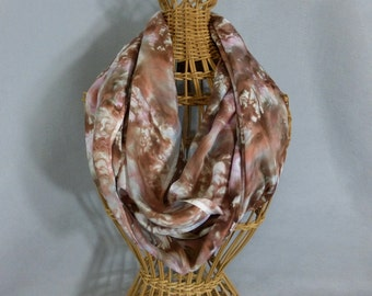 """Silk Infinity Scarf """"Pink and Brown Marble"""", Hand Painted Silk Circle Scarf, Brown and Pink Scarf"""