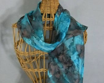 "Silk Scarf (Small) ""Turquoise and Charcoal Gray"", Hand Painted Silk Scarf, Turquoise Scarf"