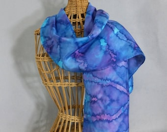 "Silk Scarf ""True Blue"", Hand Painted Silk Scarf"