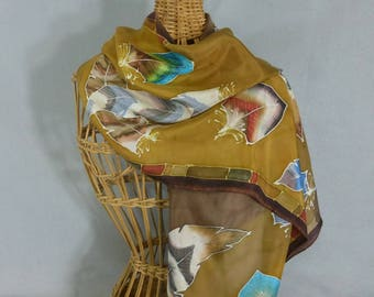 """Silk Scarf """"Gold and Brown Feathers"""", Hand Painted Silk Scarf"""