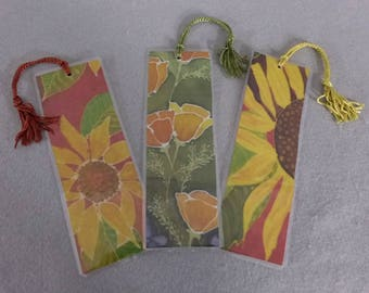 "Bookmarks ""Yellow Blossoms"" (set of 3), Silk Art Bookmarks, Stocking Stuffers"