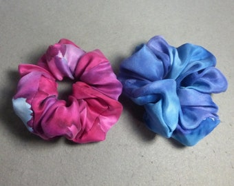 Fuchsia Pink and Blue Hand Painted Silk Scrunchies set of 2 medium Silk Scrunchies Silk Hair Ties