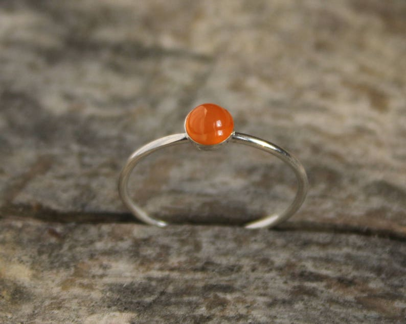 925 Silver ring with carneol minimalist elegant orange stone ring stackable ring thin ring