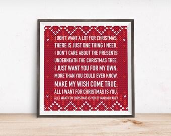 I Dont Want Alot For Christmas Lyrics.Mariah Carey Lyrics Etsy