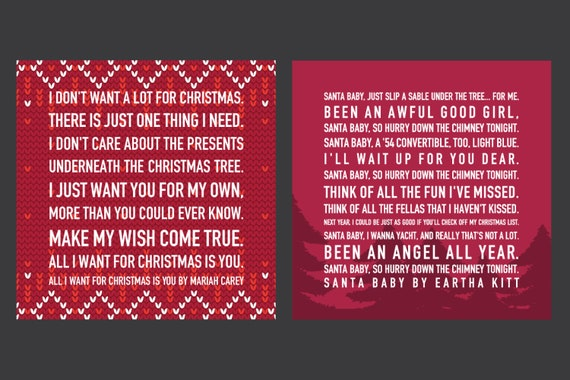 I Dont Want Alot For Christmas Lyrics.Christmas Mega Pack Of Printable Wall Art Lyrics Digital Art Instant Download For Your Christmas Winter Holiday Party Celebration