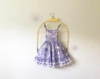 8055a8602b22c 1990s Lid'L Dolly's Lavender Floral Tiered Ruffled Full Circle Dress (Girls  Size 7/8)