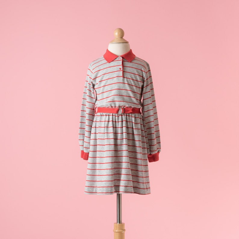 Girls Size 6 Vintage Health-Tex Heather Grey And Red Striped Jersey Knit Dress
