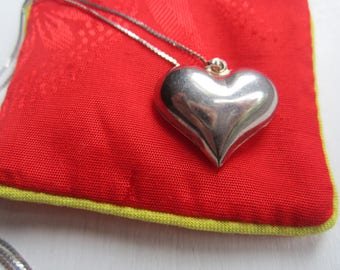 Large Sterling Silver Puffy Heart Pendant-Italy FREE SHIPPING (US)