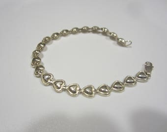 Vintage Sterling Silver Puffy Heart Bracelet-FREE SHIPPING (US)