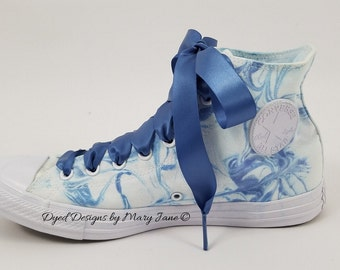 Chuck Taylor All Stars, Dyed Converse  shoes, blue marble converse, hand dyed marbled converse, converse all star