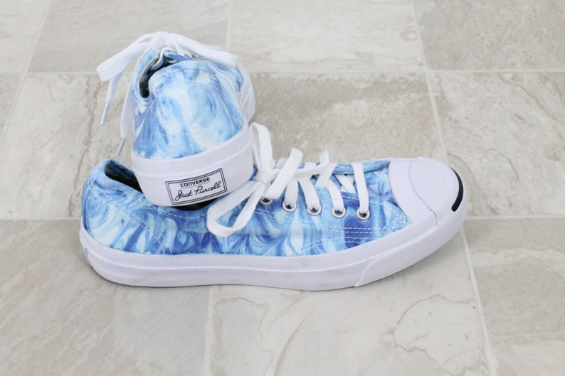 63fe38778468 Tie dyed converse shoe Jack Purcell tennis shoes blue marble