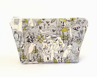 Cute cosmetic bag, Large makeup bag, Zipper project bag, Gift for mom, Cute zipper pouch, Woodland pouch Large zipper bag Makeup zipper bag