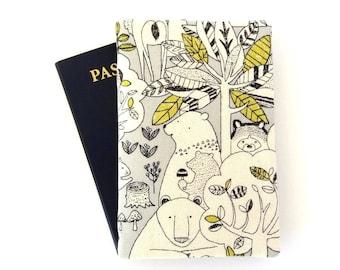Child passport cover, Cute passport holder, Passport wallet, Cute gift for traveler, 2 passport holder, Child traveler gifts, Bear, Woodland