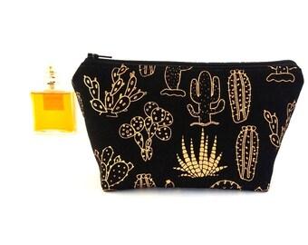 Gold cactus on black makeup bag, Succulent lover gift for women