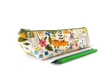Cute pencil pouch Children gifts Flat zipper pouch Canvas pencil bag Animal pencil case Travel passport wallet Zipper wallet Makeup bag