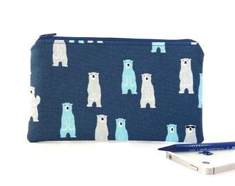 Pencil bag, Polar bear, Pencil pouch, Polar bear wallet, Boy pencil pouch, Zipper pouch, Travel wallet, Bear gift, Cute school supplies Blue
