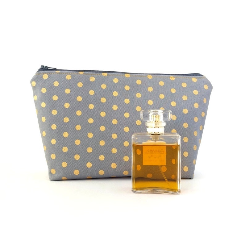 28b6425d8f Gold dot cosmetic bag Large makeup bag Polka dots zipper   Etsy