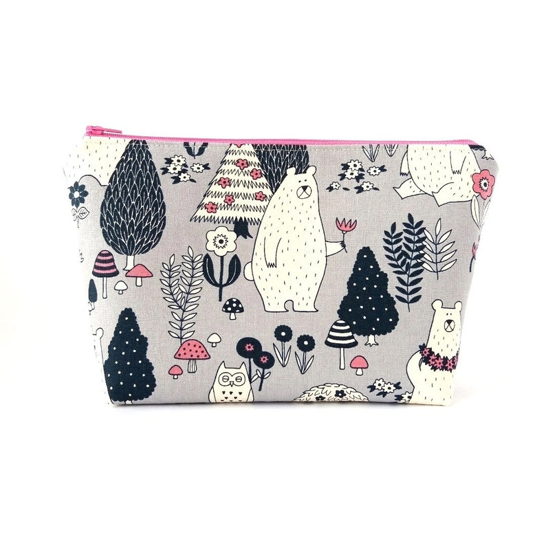 5926bbed2263 Cute cosmetic bag, Canvas makeup bag, Kawaii zip pouch, Zipper makeup  pouch, Large make up bag, Bear with flower pouch, Woodland project bag