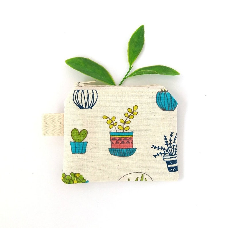 Earbud pouch Coin change pouch Tiny keychain wallet Potted cactus coin purse Mini bag for lanyard Teenage girl gifts Small zipper pouch