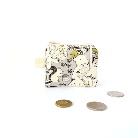 Animals Key ring wallet Woodland wallet Cute coin pouch Children coin purse Deer Tiny zipper pouch Change money bag Child gift ideas