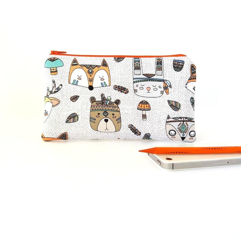 55e11b648148 Tribal animal pencil case for kids, Cute zipper pouch, Children travel  wallet, Colorful kawaii school supplies