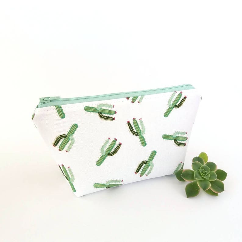 5486f7509f1f Cactus makeup bag, Bridesmaid gift, Cactus zipper pouch, Small cosmetic  bag, Travel make up pouch, Cute cactus gift, Mint green and white