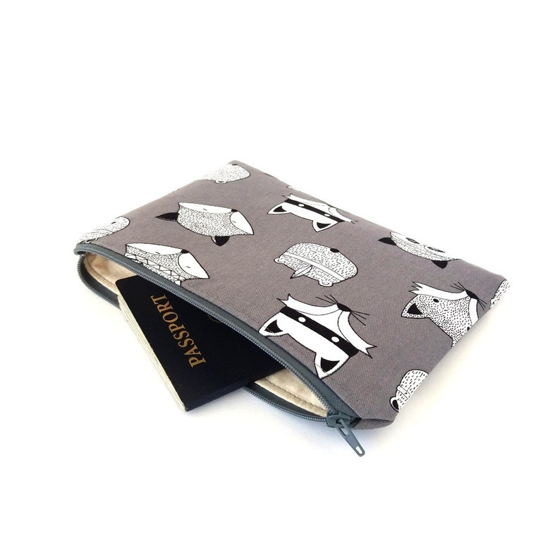 Badger Animal pencil pouch School stationary pouch Flat pencil case Racoon Cute nappy wallet Gift for child Travel zipper pouch Fox