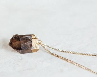Raw Smokey Quartz Necklace, Smokey Quartz necklace, Rough Smokey Quartz Jewellery, Raw Crystal Necklace, Raw Stone Necklace, Smokey Quartz