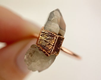 Smoky Quartz Ring Size P Smoky Quartz Ring Electroformed Quartz Ring