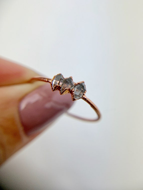 Herkimer Diamond Ring, Herkimer Diamond Band Size R 1/2