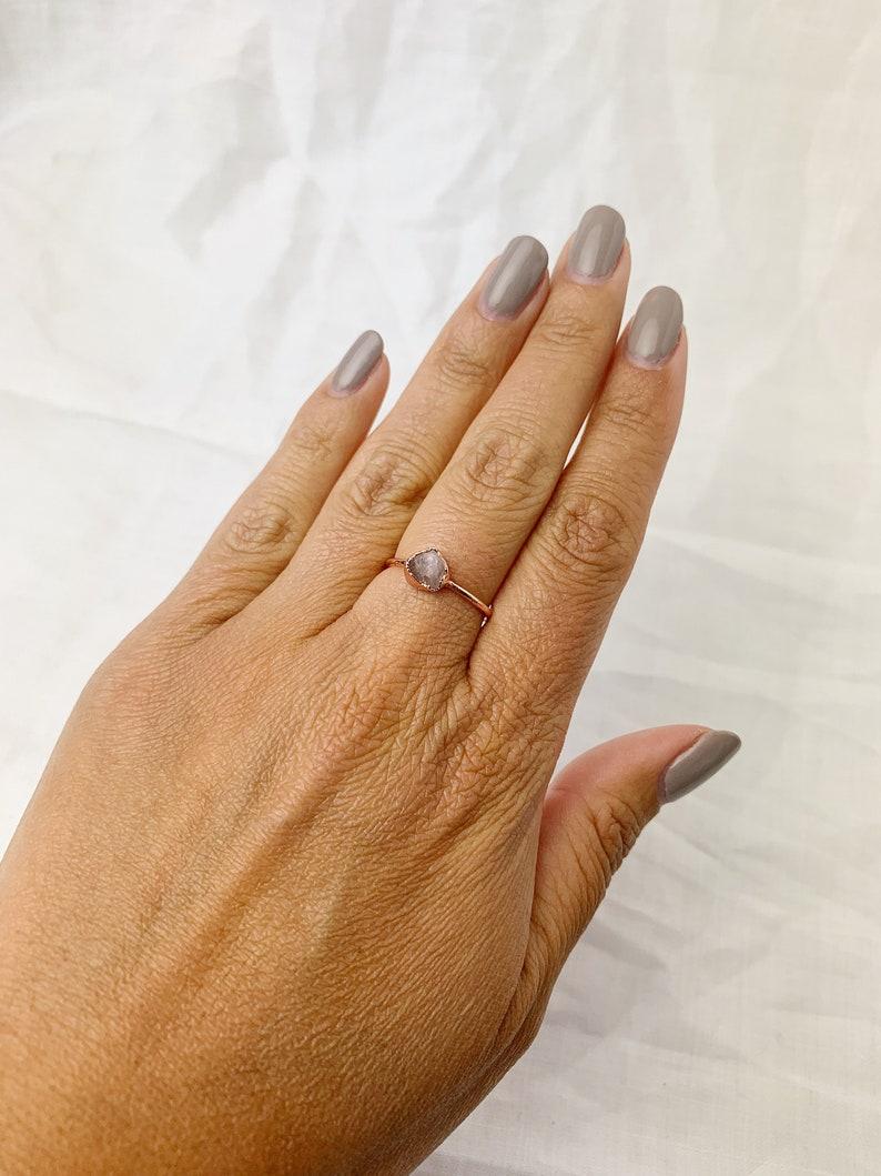 Morganite Copper Ring Size M Pink Morganite Ring Electroformed Pink Morganite Ring