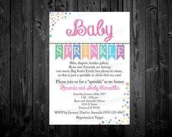 Baby Sprinkle Invitation, Baby Sprinkle Invitation Girl, Polka Dot Baby Sprinkle Invitation, Girl Sprinkle Invitation, Confetti