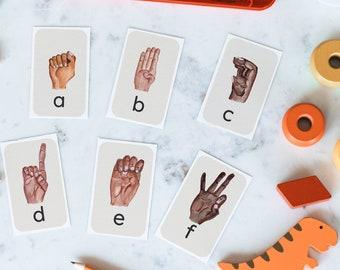 ASL Alphabet Flashcards, Printable ABC Cards, Printable ASL Alphabet Cards, Alphabet Wall Cards, Instant Download, Preschool, Kindergarten
