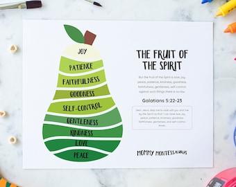 Fruit of the Spirit Bible Printable, Playroom Printable, Preschool Christian Worksheet, Bible Memory Verse, Kindergarten activity