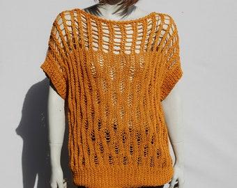 Cotton Knitwear-Loose Sweater-Openwork Top-Summer Knitwear-Knitted Sweater-Womens Blouse-Knit Sweater Women-Neck Top-Opework Blouse