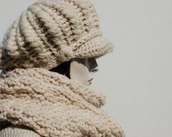 a86fae3b718 Hat Scarf Set-Slouchy Newsboy Hat-Hand Knitted Scarf-Chunky Slouchy Hat-Wool  Newsboy Hat-Beige Newsboy Hat