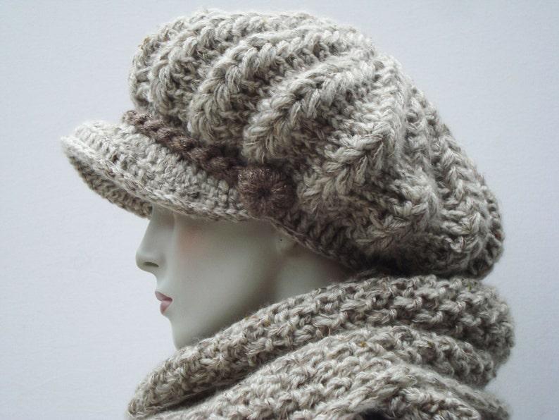 6f8bcfaaf8b Newsboy Hats-Knitted Scarf-Womens Hat Newsboy-Chunky Knit