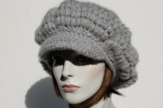 Grey Newsboy Hat-Slouchy Newsboy Hat-Chunky Knit Hat-Oversized  54d8bc45fc4