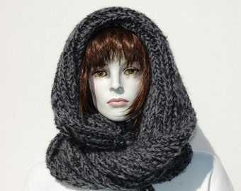 Chunky Scarf-Hooded Scarf-Oversized Scarf-Wool Hooded Scarf-Circle Scarf-Infinity Scarf-Hoodie Scarf-Chunky Super Scarf-Big Scarf Chunky